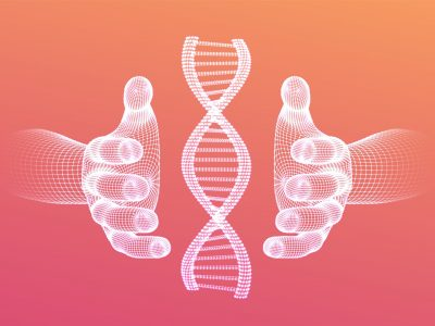 DNA sequence in hands. Wireframe DNA molecules structure mesh. DNA code editable template. Science and Technology concept. Vector illustration